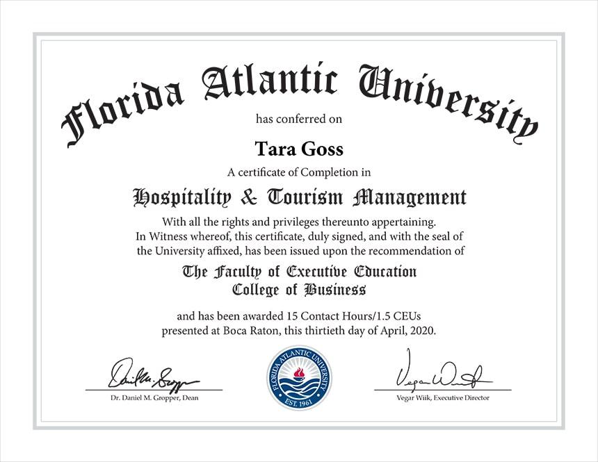 Hospitality & Tourism Management Certificate   Tara Goss